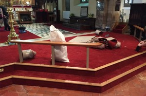 Laying the new carpet in the chancel