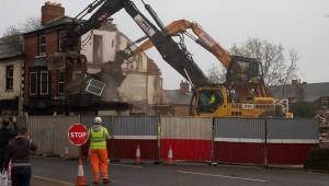 Demolition beside Hucknall Marketplace starts
