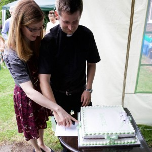 New curate James Pacey and wife, Rachel at his welcome party in the rectory garden