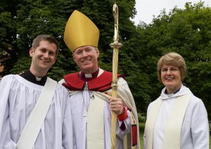 New curate James Pacey, Bishop of Southwell & Nottingham Rt Revd Paul Williams and Revd Canon Kathryn Herrod at his ordination at Southwell Minster