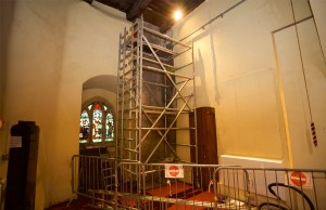Removal of the tower weight chamber which used to serve the manually wound clock