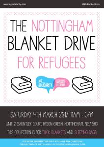 Nottingham Blanket Drive for Refugees poster