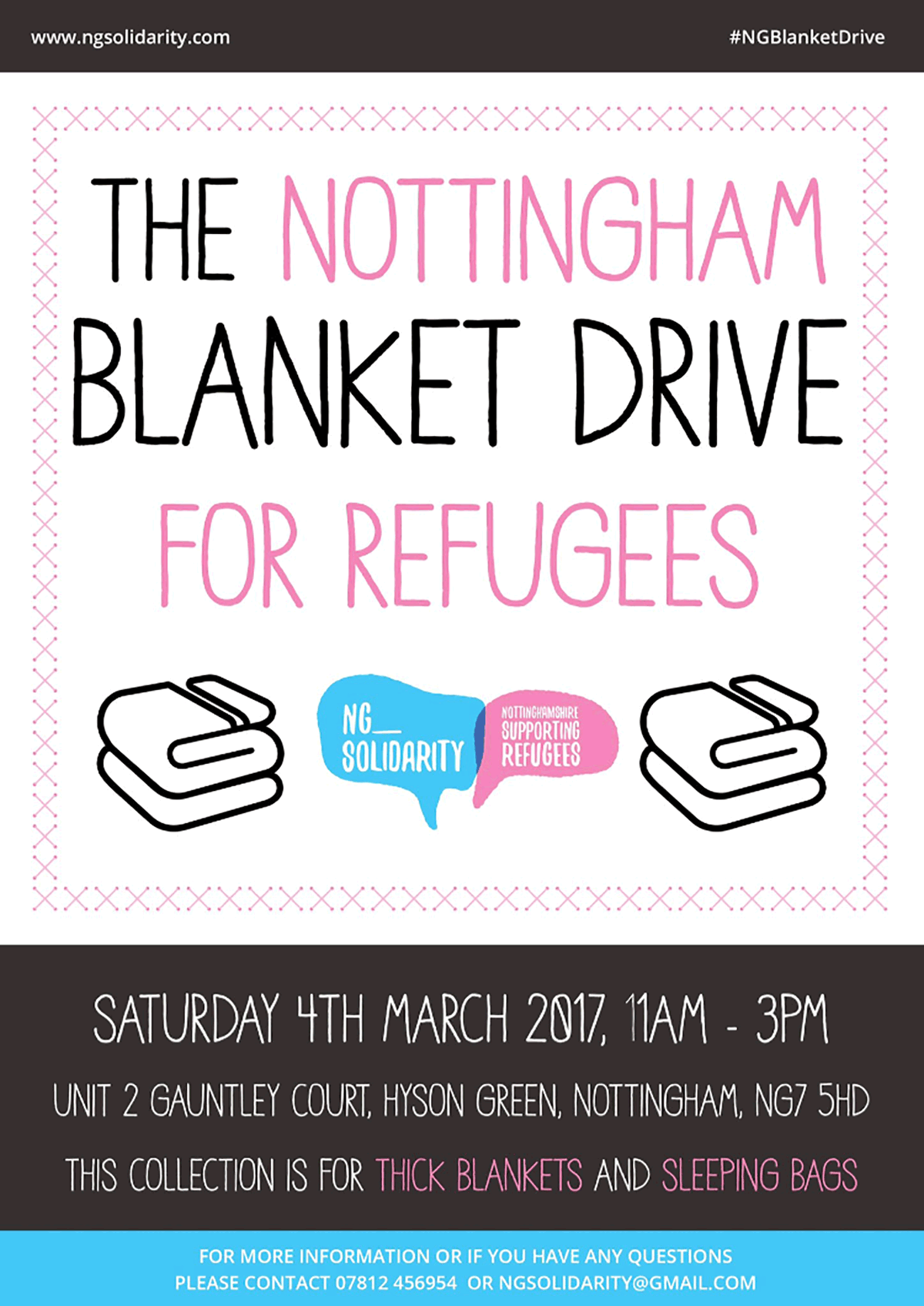 Poster for Nottingham Blanket Drive for Refugees