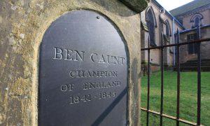 Grave of Benjamin Caunt in St Mary Magdalene churchyard, Hucknall, Nottinghamshire