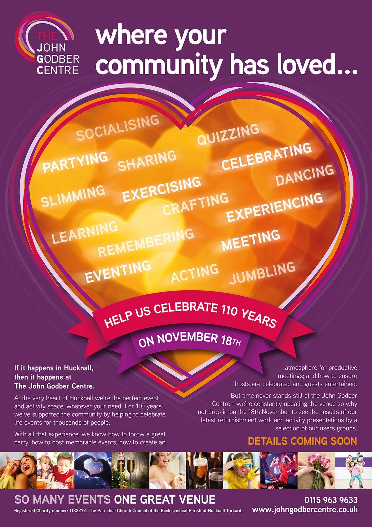 Poster for 110th Anniversary celebrations at the John Godber Centre, Ogle Street, Hucknall