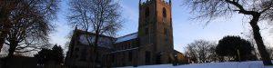 Snow-covered St Mary Magdalene church, Hucknall
