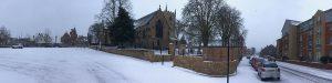 Snow-covered St Mary Magdalene church, Hucknall 2018