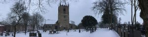 Snow-covered St Mary Magdalene church, Hucknall 2018