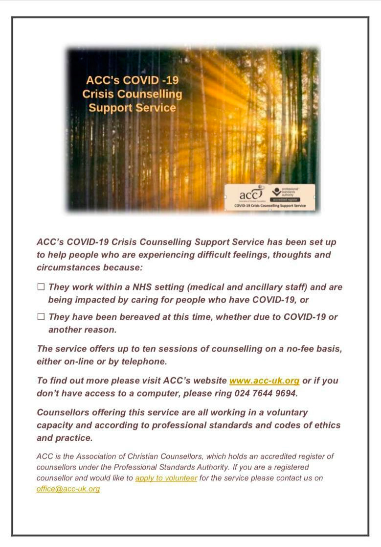 ACCs COVID-19 Crisis Counselling Support Service information poster