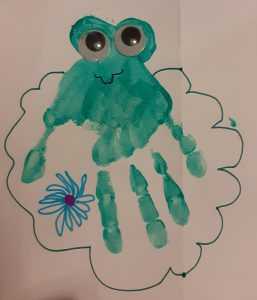 Frog handprint picture by Samuel Goddard