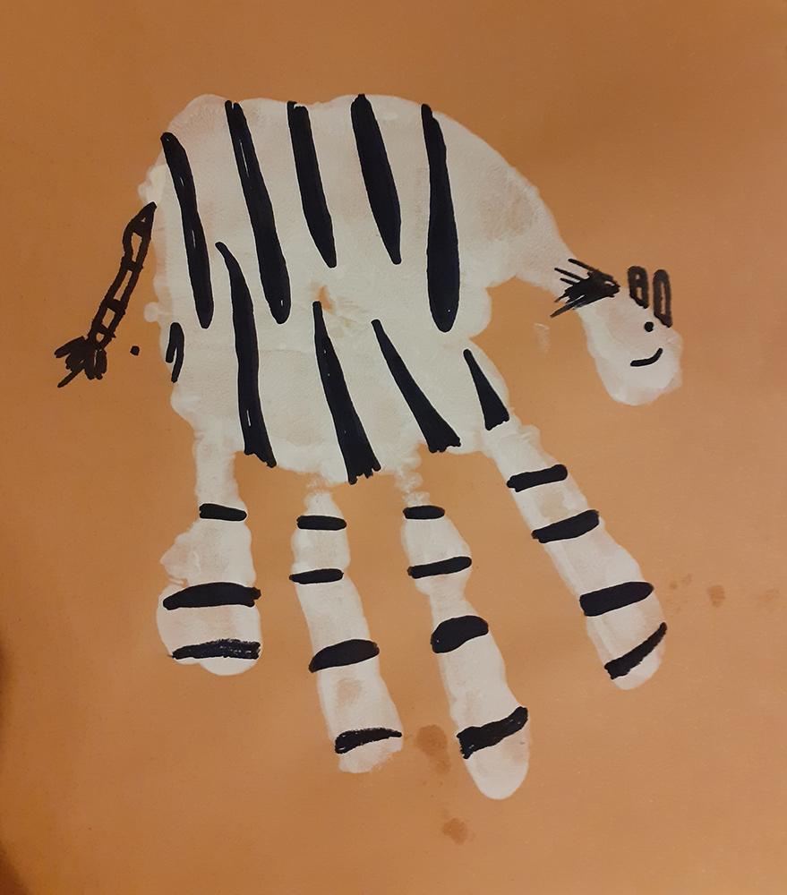 Zebra hand painting